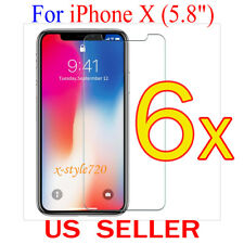 "6x Clear Screen Protector Guard Cover Film Shield For Apple iPhone X  (5.8"")"