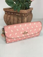 Coach Wallet Butterfly Print Coated Canvas with Charms Pink Slim 59334 W2