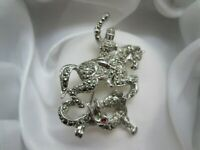 Vintage Silver Tone Marcasite Knight Slaying Dragon Mythical Animal Brooch Pin