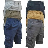 Mens Cargo Twill Shorts Combat Chino Half Pants 100% Cotton Work Wear Casual