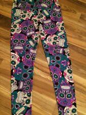 Sugar Skull women's Leggings Large,  XL, & XXL Fits Sizes 14 - 20 Plus Size