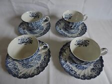 Set of 4 Johnson Brothers Blue Coaching Scenes Cups and Saucers