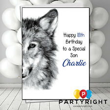Personalised Handmade Wolf Dog Child Adults Kids Any Age  Birthday Card
