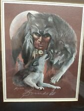 """""""I Am Wolf"""" - Print by Carole Bourdo~Matted and Framed~9X11 Frame~4x5 Print"""
