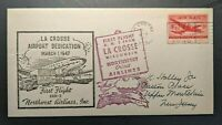 1947 La Crosse Wisconsin to New Jersey NW Airlines First Flight US Airmail Cover