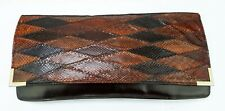 Vintage 70s Ladies Burgundy Red Faux Snakeskin Retro Clutch Hand Bag