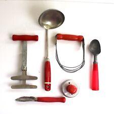 Vintage Kitchen Utensils Lot of 6 Red Wooden Handles Ladle Chopper Scoop