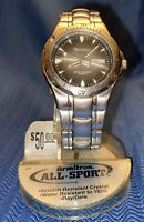 Armitron Mens Watch 201429 LTB Stainless Steel Metal All Sport Day Date Vintage