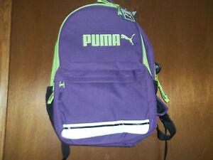 Puma Purple green Archtype backpack laptop holder reflector strap ADJ straps NWT