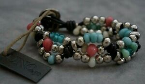 "NWT Uno De 50 Silver 3 Braided Strands Colorful Murano Glass Wrap Bracelet 7"""