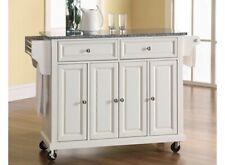 Crosley White Island Granite Top Kitchen Cart