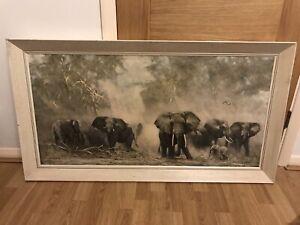 David Shepherd Elephants At Amboseli Original 1960s Print Picture.