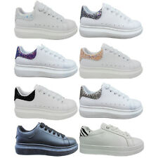 WOMENS LADIES PLATFORM CHUNKY SOLE GLITTER TRAINERS PUMPS SNEAKERS SHOES SIZE
