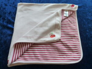 Baby Gap Pink Stripe Cotton Cherry Baby Girl Receiving Swaddle Blanket Vintage