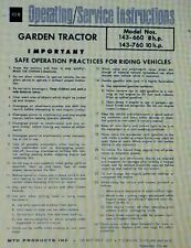 MTD Lawn Garden Tractor Owner & Parts Manual 34pg Riding 8 & 10 hp 143-660 & 760