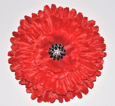 "Huge 7"" Bright Red Rhinestone Peony Silk Flower Hair Clip Prom Dance Party"