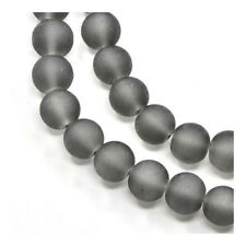 Strand 195 Grey Glass 4mm Frosted Plain Round Beads Y05240