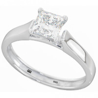 925 Silver Ladies Wedding Engagement Princess Cut Bridal Ring