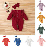 Baby Girl Romper Infant Playsuit Long Sleeve Jumpsuit +Bow Headband Outfits #A