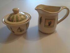 Pfaltzgraff Naturewood Garden Creamer & Sugar Bowl & Lid. Garden Plants
