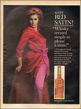 1965 Vintage ad for Red Satin Blended Whiskey`Sexy Model Red Robe  (080216)