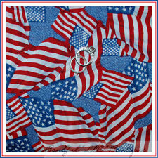 BonEful Fabric FQ Cotton Quilt Blue White Red Star Stripe Sm USA Flag Patriotic