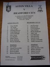 18/03/2002 riserve Aston Villa V BRADFORD CITY RESERVES (singolo foglio)