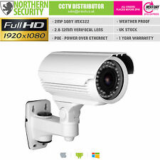 SONY IMX 2 MP 2.8-12mm 1080P Onvif P2P 40M BLANC Balle Poe Audio Caméra IP CCTV