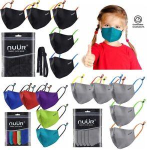 NUÜR Kids 100% Cotton Breathable Face Mask 5 Pcs Contrasting Adjustable Ear Loop