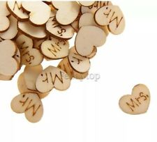 100 Shabby chic wood Mr & Mrs Hearts - wedding confetti, crafts Table Decoration