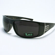 Locs Sunglasses Mens Oval Rectangular Frame Black Checkered UV 400