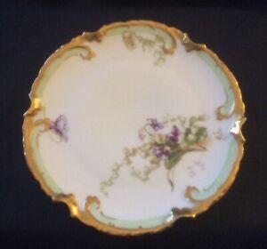 Antique Limoge France Old Abbey Plate Violets Gold Trim