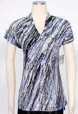 Kasper Electric Blue Multi Blouse Size L Draped Cami Women's New *