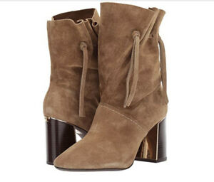 Tory Burch NIB Gigi 85MM Heel Brown Bootie Natural Suede Logo MANY SIZE Sold Out