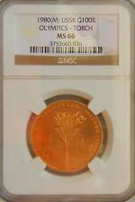 1980 RUSSIA 100 ROUBLES 1/2 OZ GOLD OLYMPICS TORCH MS66 NGC