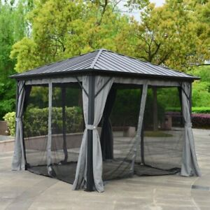 ALEKO Aluminum and Steel Hardtop Gazebo with Mosquito Net and Curtain 10x10 ft