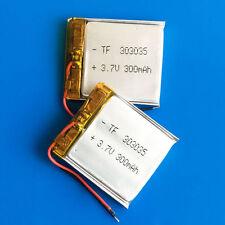 2 Pcs 3.7V 300mAh Li Po Batería Para MP3 GPS Reloj inteligente auricular Bluetooth 303035