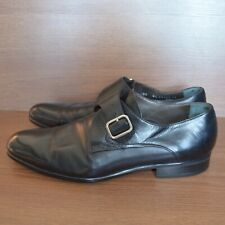 Moreschi Kobe Mens Black Leather Monk Dress Shoes sz 8.5