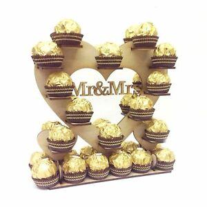 Small Mr & Mrs Ferrero Rocher Chocolate Wedding Table Heart Display Stand Decor
