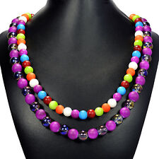 Rainbow Shell & Purple Mystic Fire Crystal Necklace Handmade Designer Jewellery