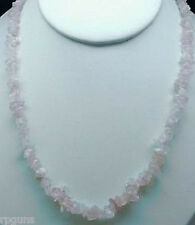 NATURAL ROSE QUARTZ CRYSTAL CHIP NECKLACE BEAD 18""