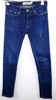 Topman Jeans Womens Size 30 R Stretch Skinny Dark Wash Distressed Button Fly