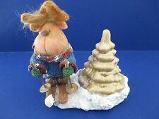 Handmade in Vermont Ceramic Reindeer Wearing Sweater Snow Skiing Figurine Bx13
