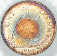 1967 GREAT BRITAIN 1 ONE PENNY BU COLOR RAINBOW TONED UNC GEM (DR)