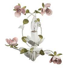 Applique murale rustique florale en métal blanc à 1 lampe en forme de bougie