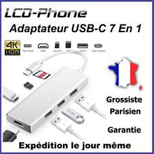 Adaptateur USB-C 7 En 1 Type C+SD/TF+4K HDMI+USB 3.0+Reader pour Macbook Pro Mac