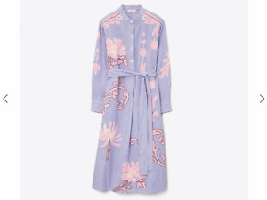 NEW 100% AUTHENTIC TORY BURCH EMBROIDERED STRIPED SHIRT DRESS SIZE XL ORG 448$