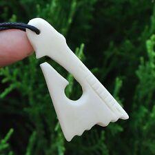 Hand Carved Bone Fish Hook Amulet Pendant New Zealand Maori Style Carving