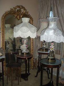 Pair Italian Porcelain Figural Lamps XL Victorian Shades Man & Woman