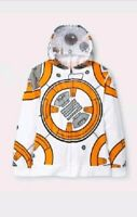 Disney Star Wars BB-8 Boy's Graphic Zip Up Jacket Front Mask Pockets Size Medium
